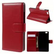 HUAWEI P8 LITE læder cover med kort lommer rød, Mobiltelefon tilbehør
