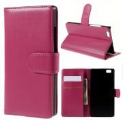 HUAWEI P8 LITE læder cover med kort lommer rosa, Mobiltelefon tilbehør