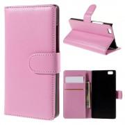 HUAWEI P8 LITE læder cover med kort lommer pink, Mobiltelefon tilbehør