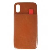 Viser Iphone Xs case med 2 kort lommer brun