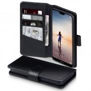 Premium cover ægte læder sort Huawei P20 lite Mobil tilbehør