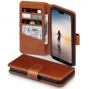 Premium cover ægte læder brun Huawei P20 lite Mobil tilbehør