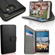 HTC ONE M9 læder cover med kort holder, sort Mobiltelefon tilbehør