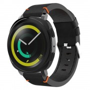 S-style læder rem sort/orange Samsung gear sport Smartwatch tilbehør