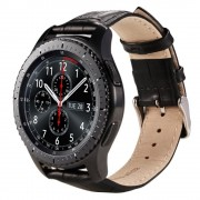 Samsung Gear S3 sort læder rem croco Smartwatch tilbehør