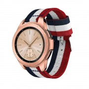 Galaxy Watch 42mm blød nylon rem blå/hvid/rød Smartwatch tilbehør