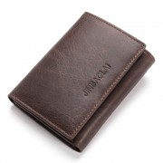 Viser RFID sikret læder tegnebog mørkebrun