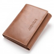 Viser RFID sikret læder tegnebog cognac