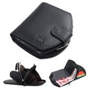 Viser Elegant folde læder pung sort