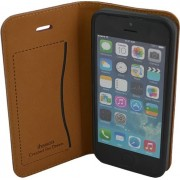 IPHONE 5S retro læder cover med kort lomme, brun Mobiltelefon tilbehør
