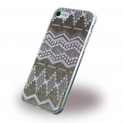 Iphone 7 bag cover Guess 3D Aztec design taupe Mobiltelefon tilbehør
