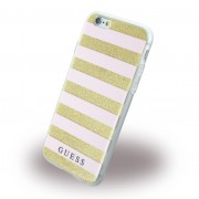 Iphone 6, 6S cover Guess 3D Stripes design lys pink Mobiltelefon tilbehør