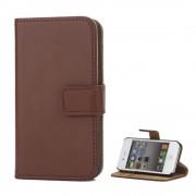 Iphone 4S flip cover mørkebrun i ægte læder Mobil tilbehør
