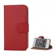 Iphone 4S flip cover i ægte læder rød Mobil tilbehør