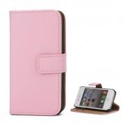 Iphone 4S flip cover i ægte læder pink Mobil tilbehør