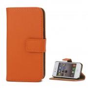 Iphone 4S orange flip cover i ægte læder Mobil tilbehør