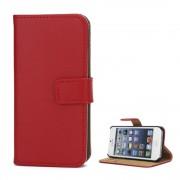 Rød IPHONE 5S læder cover med kort holder Mobiltelefon tilbehør