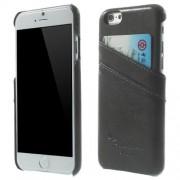 IPHONE 6 / 6S læder bag cover med kort lommer, mørkegrå Mobiltelefon tilbehør