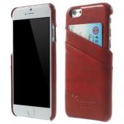 IPHONE 6 / 6S læder bag cover med kort lommer, rød Mobiltelefon tilbehør