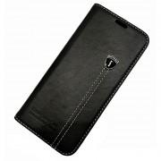 Læder flip cover sort Galaxy S8 med lomme Mobil tilbehør