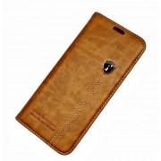 Læder flip cover brun Galaxy S8 med lomme Mobil tilbehør