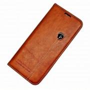 Læder flip cover rødbrun Galaxy S8 med lomme Mobil tilbehør