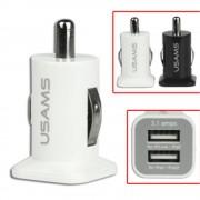 USB bil lader med dobbelt udgang hvid Mobiltelefon tilbehør