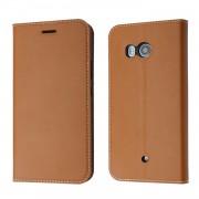 til Htc U11 klassisk flip cover med lommer brun Mobiltilbehør