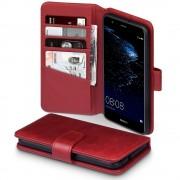 Huawei P10 Lite premium flip cover i ægte læder rød Huawei covers
