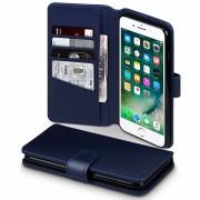 Klassisk flip cover blå Iphone 7 plus i ægte læder Mobiltilbehør