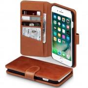 Klassisk flip cover Iphone 7 plus i brun ægte læder Mobiltilbehør