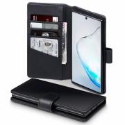 Læder flip etui Samsung Note 10 sort Mobil tilbehør