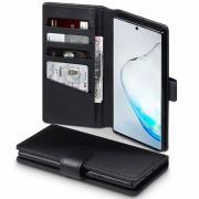 Læder flip cover Samsung Note 10 Plus sort Mobil tilbehør