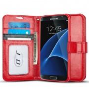 SAMSUNG GALAXY S7 læder pung cover, rød Mobiltelefon tilbehør