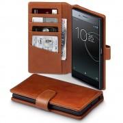 Flip cover ægte læder brun til Sony Xperia XZ premium Mobilcovers
