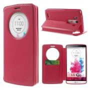 LG G3 cover med vindue og kort lomme rosa Mobilcovers