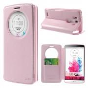 LG G3 cover med vindue og kort lomme pink Mobilcovers