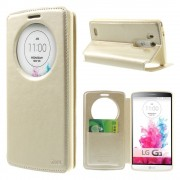 LG G3 cover med vindue og kort lomme champagne Mobilcovers