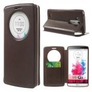 LG G3 flip cover med vindue og kort lomme brun Mobiltelefon tilbehør