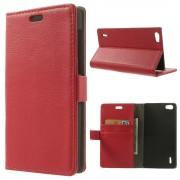 Huawei Honor 6 rød etui cover med lommer Leveso.dk Mobil tilbehør