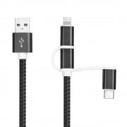 3 i 1 vævet stof usb kabel Lightning Micro Type C Universal tilbehør