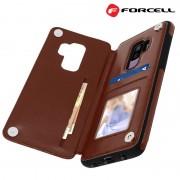 Samsung S9+ brun Forcell wallet case Mobil tilbehør
