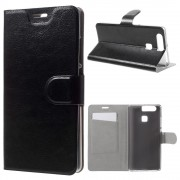 HUAWEI P9 læder cover med lommer, sort Mobiltelefon tilbehør