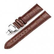 22 mm læder urrem alligator med butterfly lås brun Smartwatch tilbehør