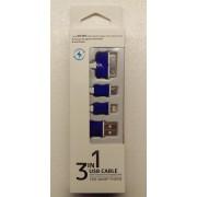 3 i 1 USB kabel, blå Mobiltelefon tilbehør