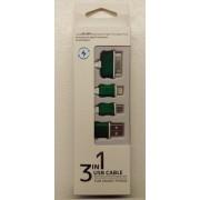 3 i 1 USB kabel, grøn Mobiltelefon tilbehør