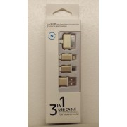 3 i 1 USB kabel, guld Mobiltelefon tilbehør
