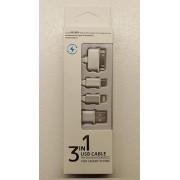 3 i 1 USB kabel, sølv Mobiltelefon tilbehør