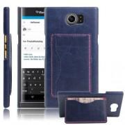 BLACKBERRY PRIV læder bag cover med kort lommer, blå Mobiltelefon tilbehør