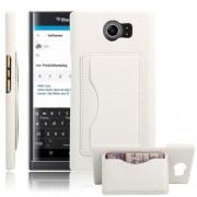 BLACKBERRY PRIV læder bag cover med kort lommer, hvid Mobiltelefon tilbehør